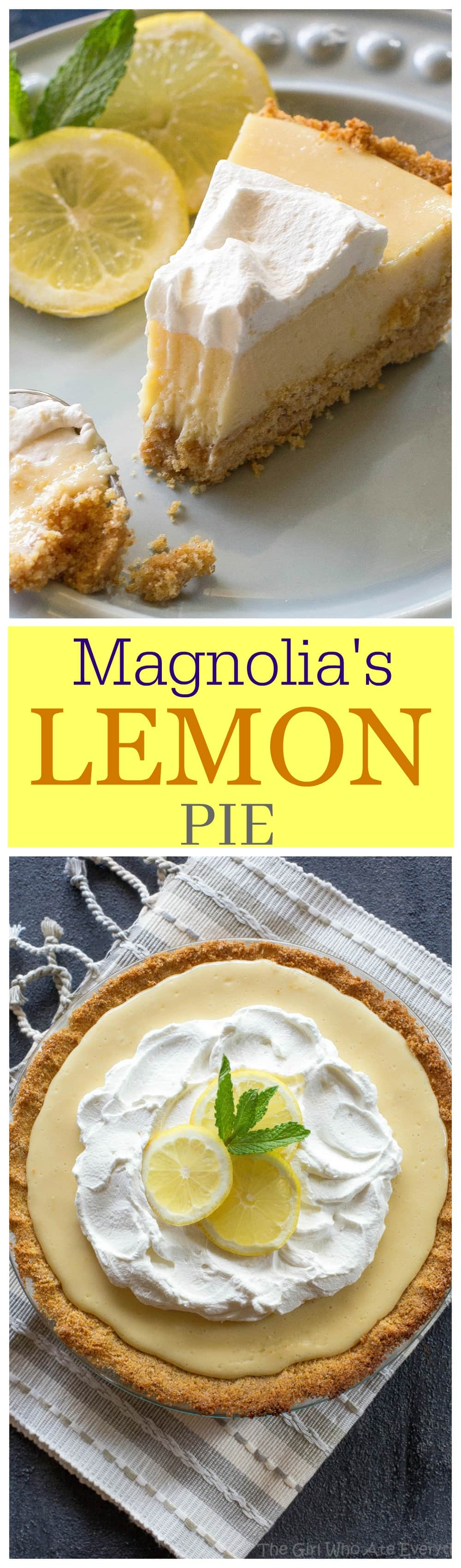 Lemon Pie - light, sweet and tart lemon pie with a thick graham cracker crust. From Joanna Gaines from Magnolia Market! #easy #lemon #pie #dessert