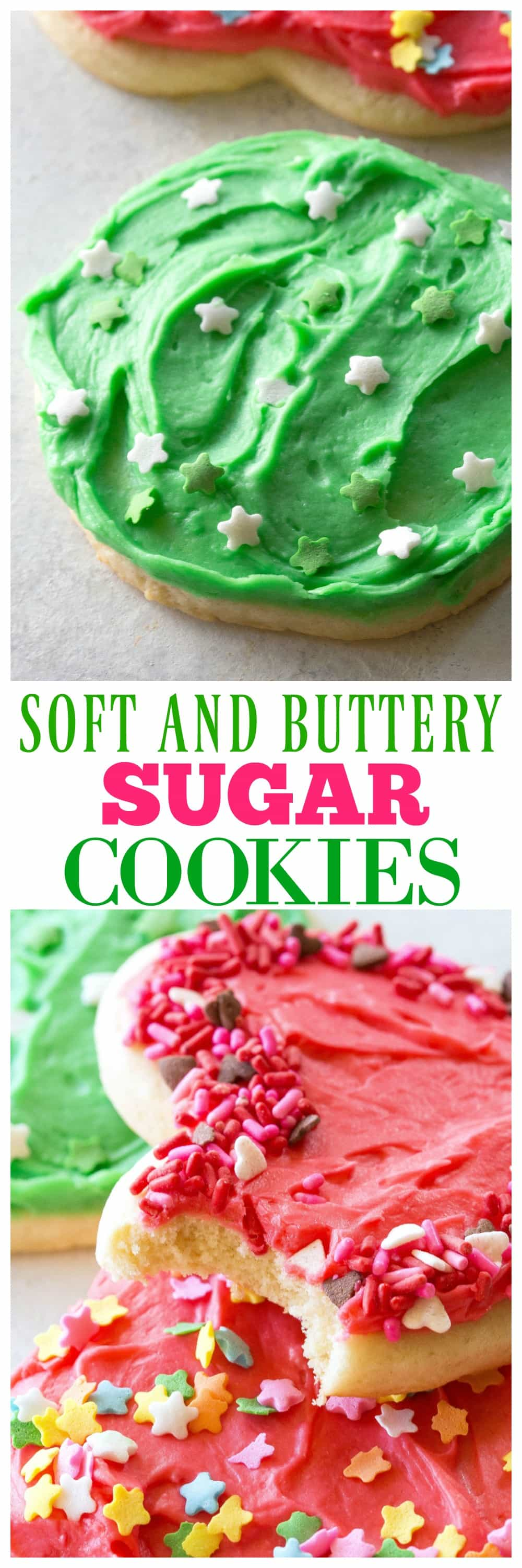 These Sugar Cookies are soft, buttery and great for cut-out shapes! #soft #sugar #cookies #cookie #recipe #dessert