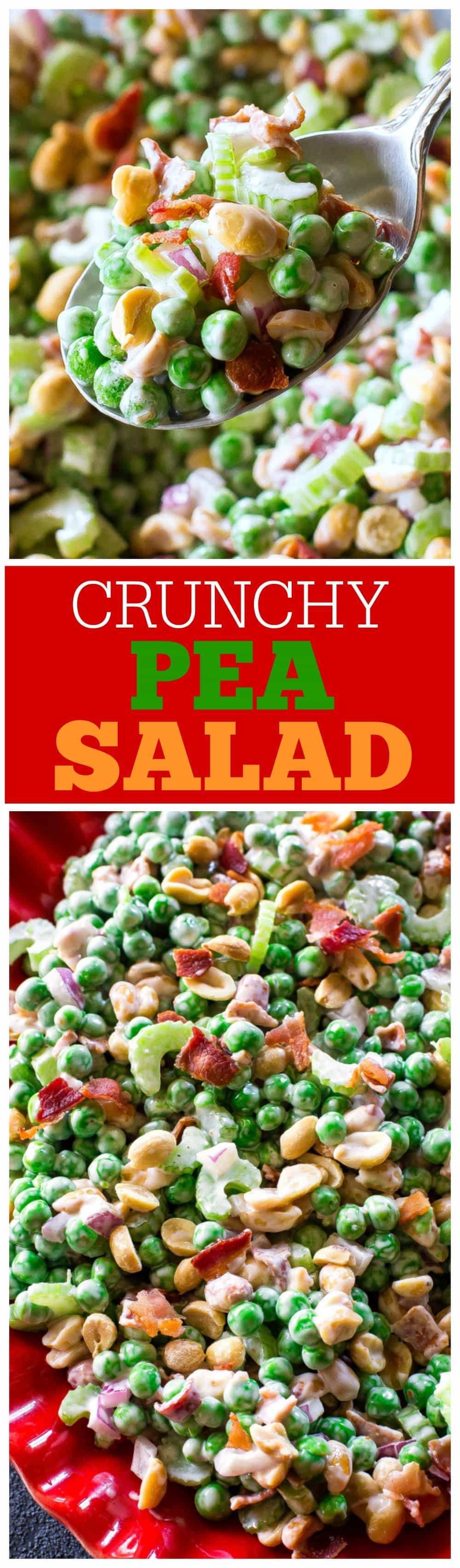 This Crunchy Pea Salad may sound weird but trust me, it's so good! Peas, peanuts, bacon, celery...all for a refreshing salad. This recipe is a potluck favorite! #pea #salad #potluck #bbq