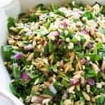 Spinach, Feta, and Orzo Salad - tossed in a balsamic vinaigrette. the-girl-who-ate-everything.com