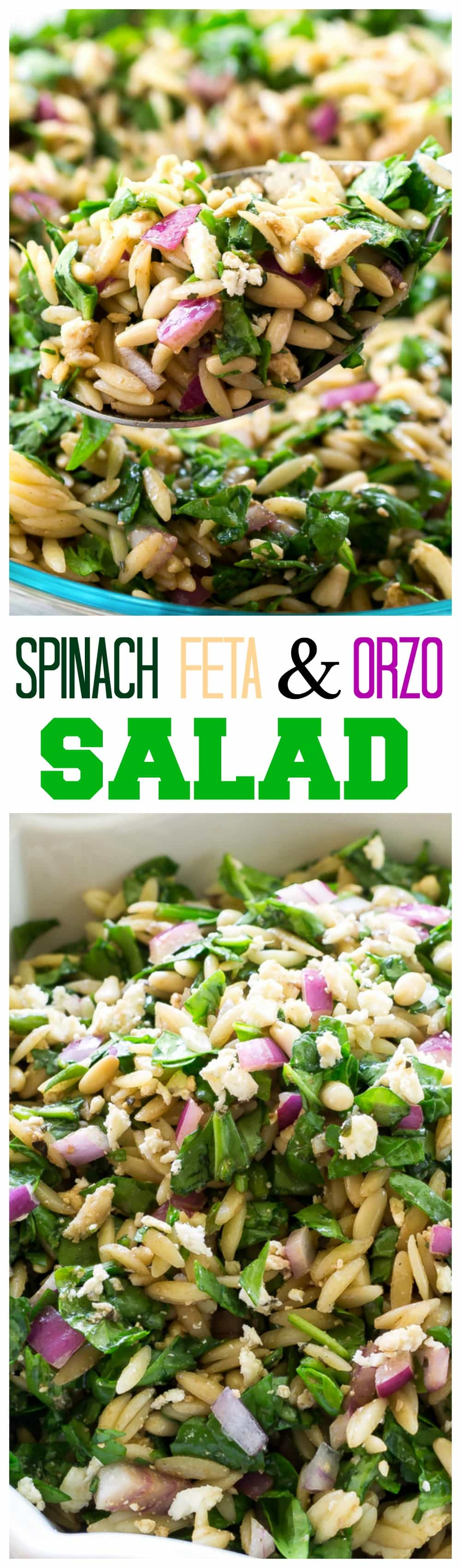 Spinach, Feta, and Orzo Salad - tossed in a balsamic vinaigrette. #spinach #feta #orzo #salad #recipe