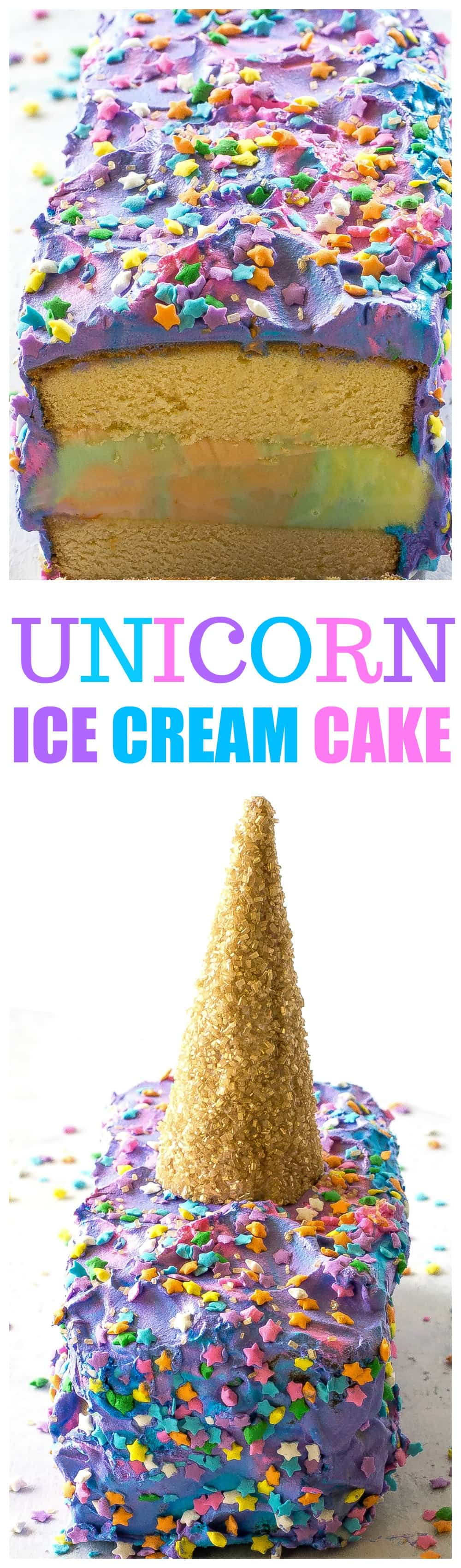 Unicorn Ice Cream Cake - an easy, magical, delicious cake! the-girl-who-ate-everything.com