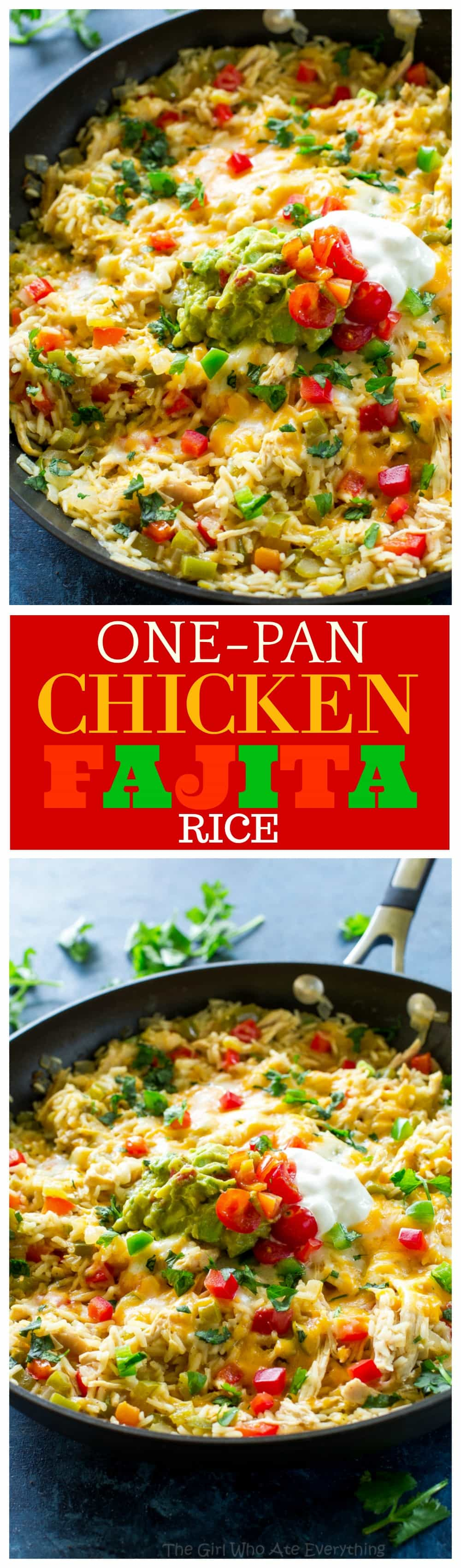 One-Pan Chicken Fajita Rice - an easy Mexican dinner read in under 30 minutes. #onepan #chicken #rice #skillet #mexican #easydinner
