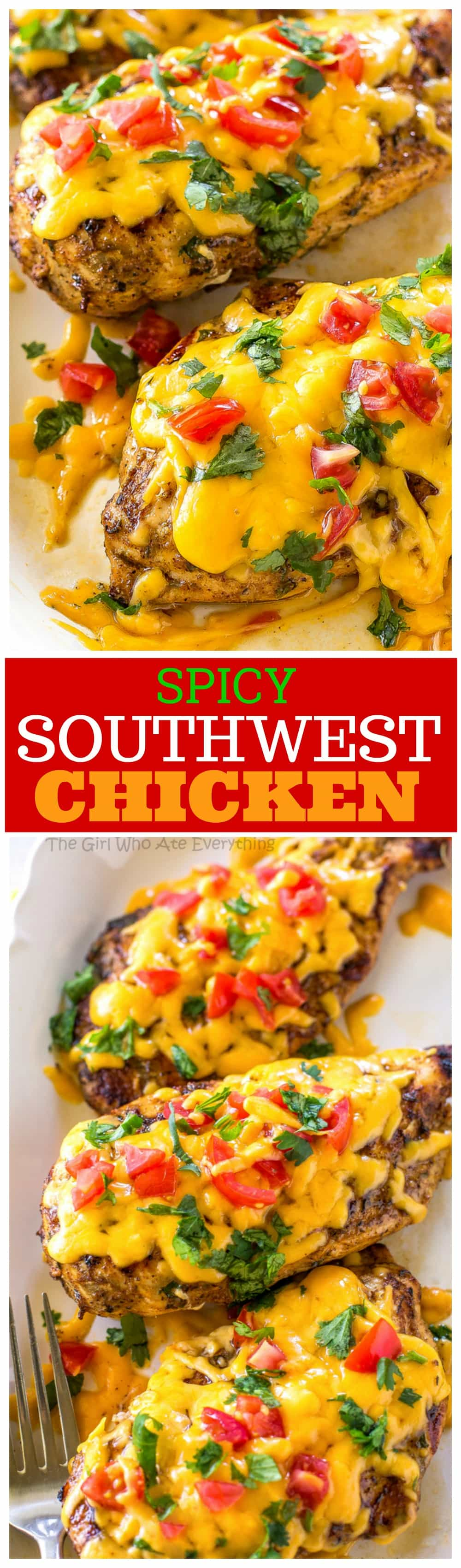 Spicy Southwest Chicken - marinated in spicy seasonings, grilled, and topped with cheese and tomatoes. the-girl-who-ate-everything.com
