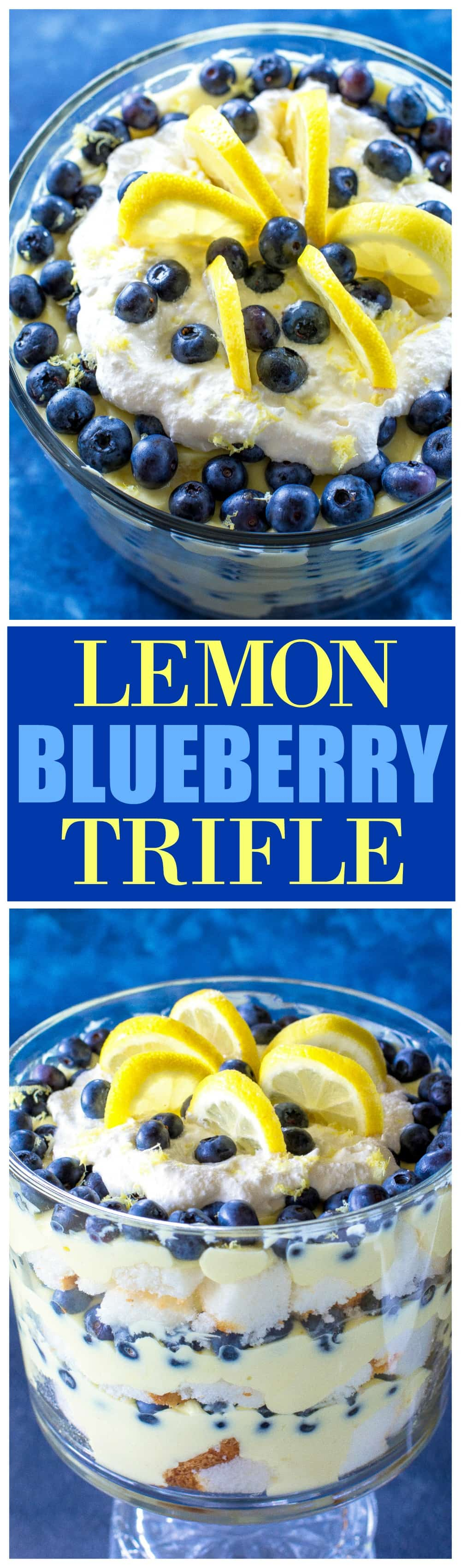 This Lemon Blueberry Trifle is layers of angel food cake, lemon pudding, and blueberries. A crowd pleasing dessert! #ad the-girl-who-ate-everything.com #PromisedLandDairy #FarFromOrdinaryMilk