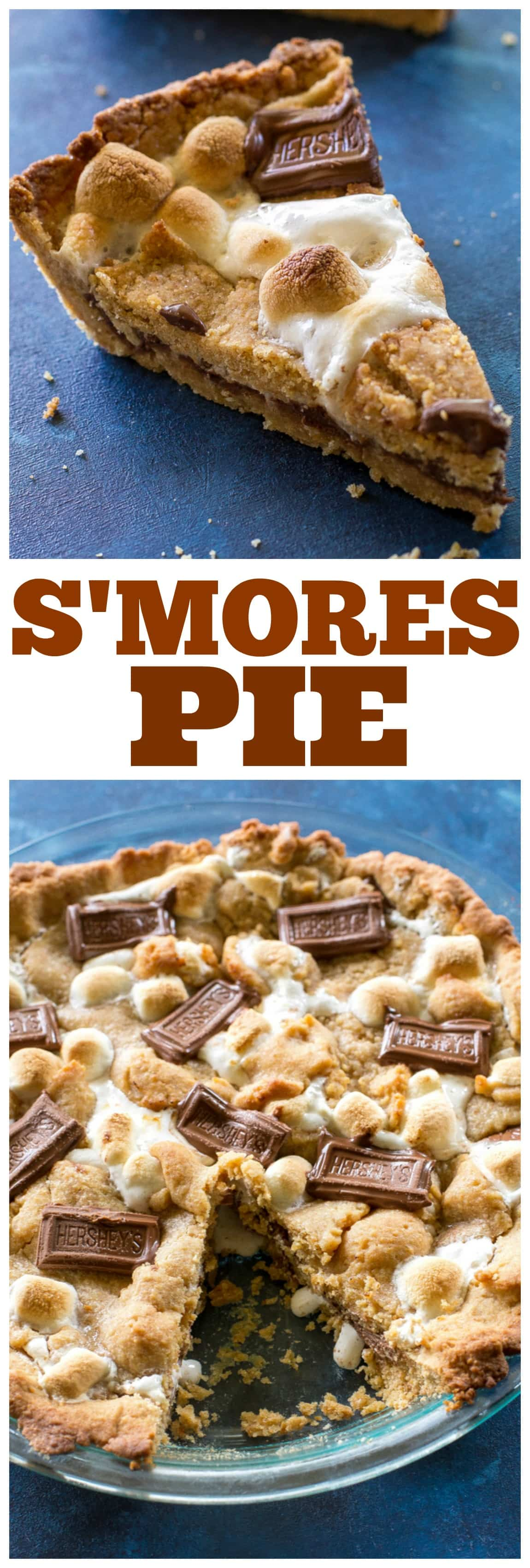 Easy S'mores Pie - layers of graham cracker dough, marshmallows, and chocolate. #smores #pie #recipe #dessert #thanksgiving