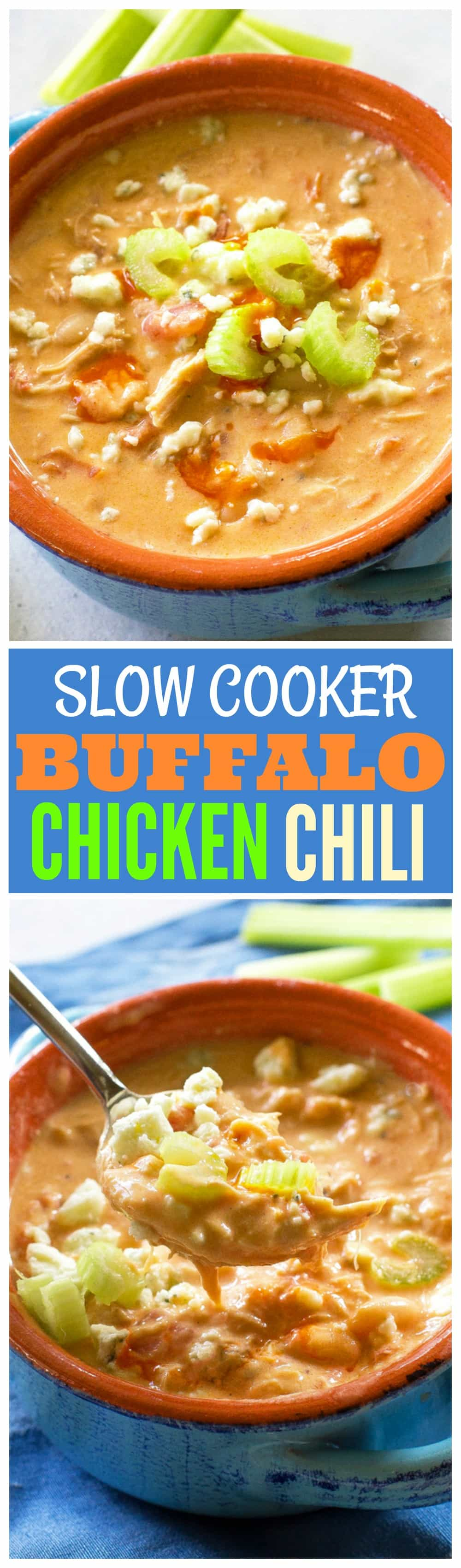 Slow Cooker Buffalo Chicken Chowder - only five ingredients in this slow cooker dinner. the-girl-who-ate-everything.com