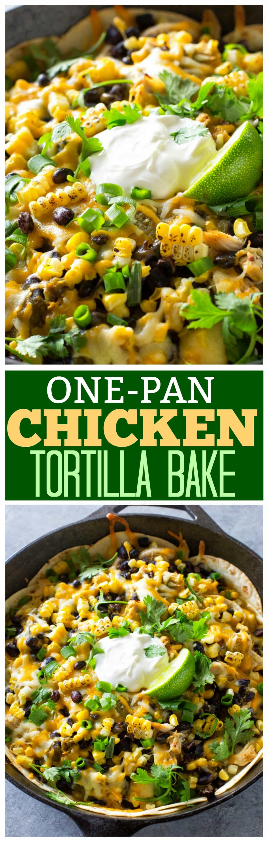 This One-Pan Chicken Tortilla Bake is a spicy Mexican dinner with only 7 ingredients. Layers of tortilla, chicken, black beans, and corn with lots of cheese in between.  #onepan #mexican #chicken #dinner #easy