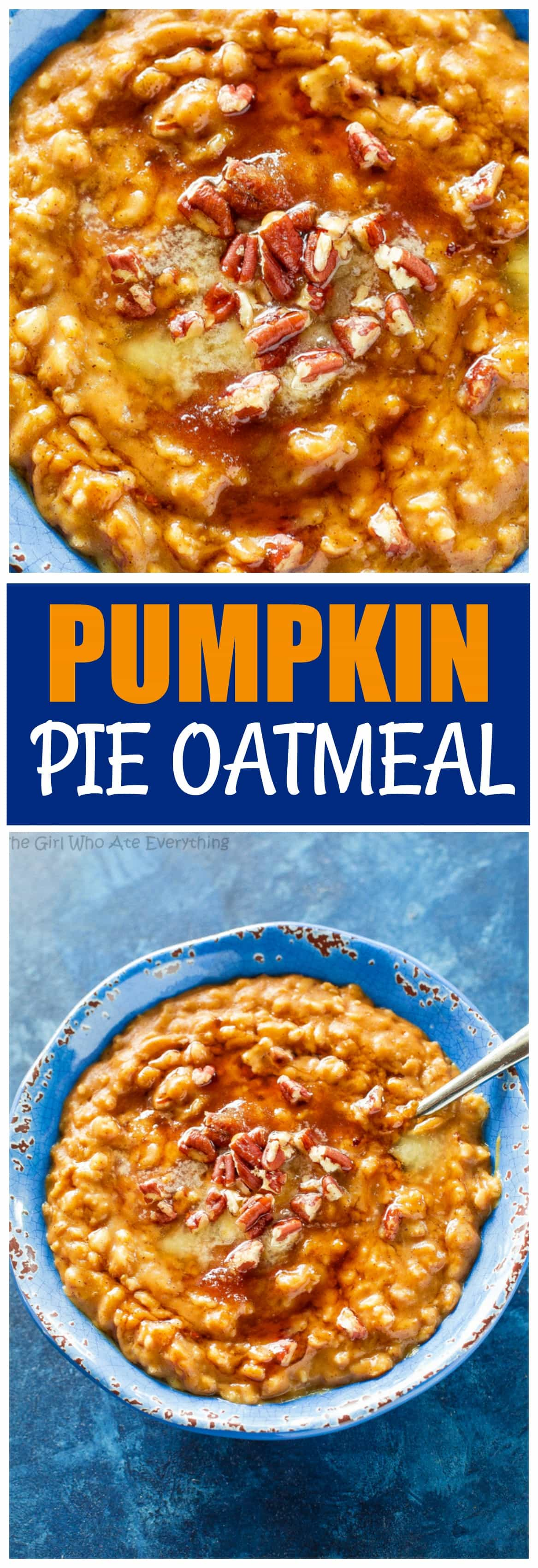 This Pumpkin Pie Oatmeal is a fast and easy fall breakfast full of pumpkin spice. Top with pecans and a drizzle of maple syrup for a real treat. the-girl-who-ate-everything.com