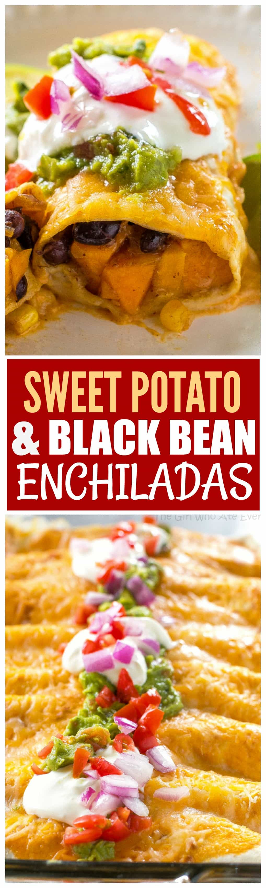 Sweet Potato and Black Bean Enchiladas - a vegetarian Mexican dinner that has the perfect amount of spice and flavor. This is a great freezer meal! #sweet #potato #black #bean #enchiladas #mexican #dinner