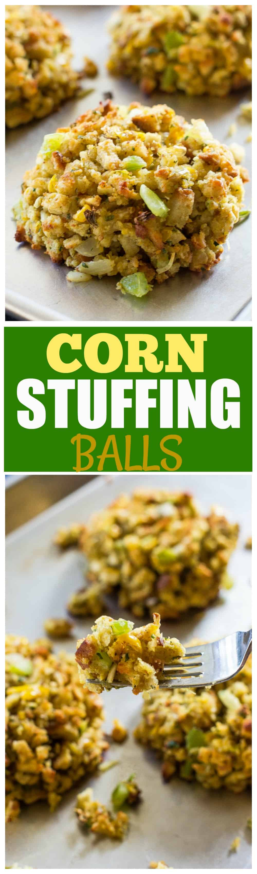 Imagine stuffing in the form of an individually portioned ball. That's what these Corn Stuffing Balls are! #thanksgiving #corn #stuffing #balls