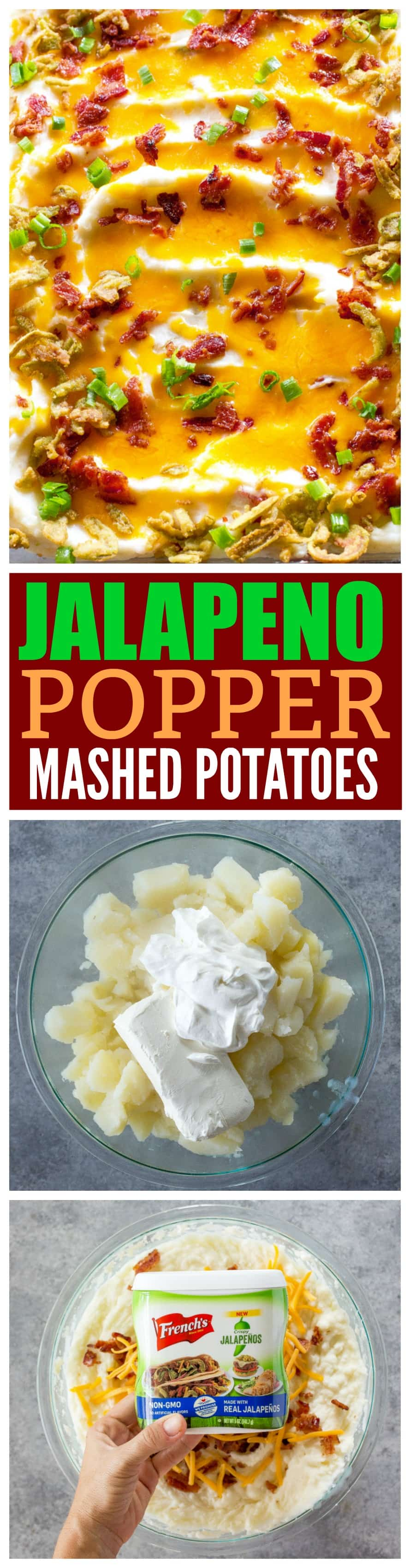 These Jalapeno Popper Mashed Potatoes are the perfect side for the Ultimate Friendsgiving. #ad #thanksgiving @French's