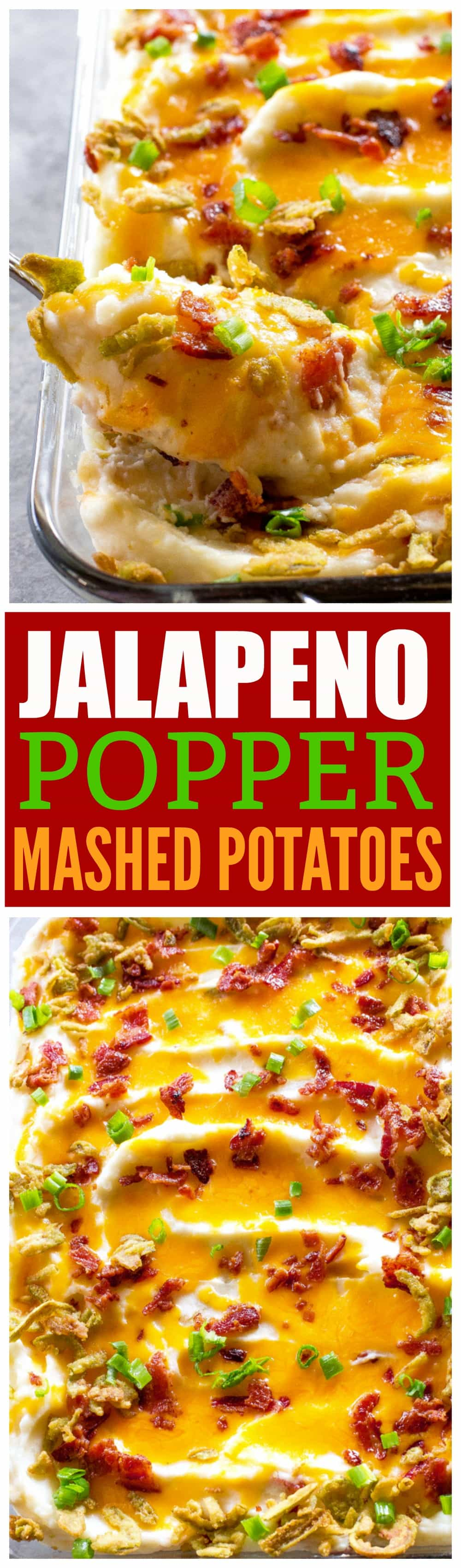 These Jalapeno Popper Mashed Potatoes are creamy mashed potatoes loaded with cheese, bacon, and crispy jalapenos. #ad These will take your Thanksgiving (or Friendsgiving) to the next level. #thanksgiving #friendsgiving #jalapenopopper #mashed #potatoes width=