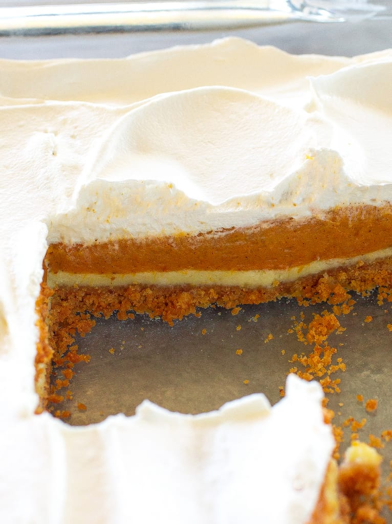 Pumpkin Pie Cheesecake Bars - A thick layer of graham cracker crust, creamy cheesecake, and spicy pumpkin pie flavored filling. the-girl-who-ate-everything.com