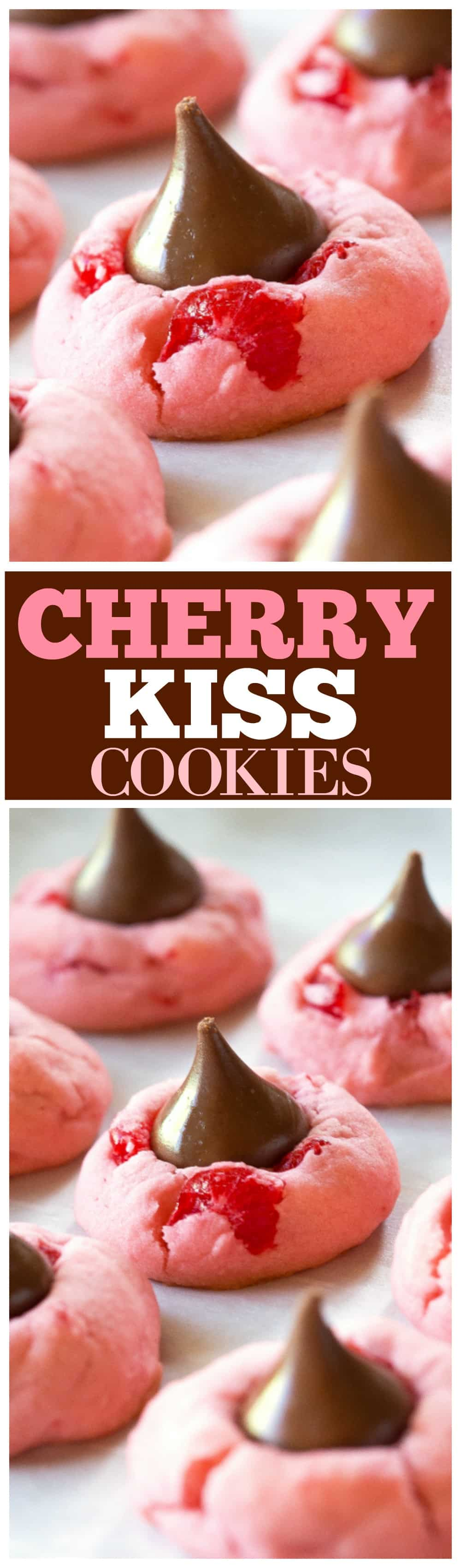 These Cherry Kiss Cookies are sweet cherry almond cookies with a chocolate Hershey kiss in the middle. Great for Christmas cookie plates. #christmas #cookie #recipe #cherry #kiss #dessert
