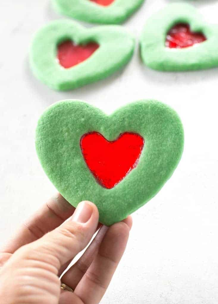 Christmas Heart.Grinch Heart Cookies