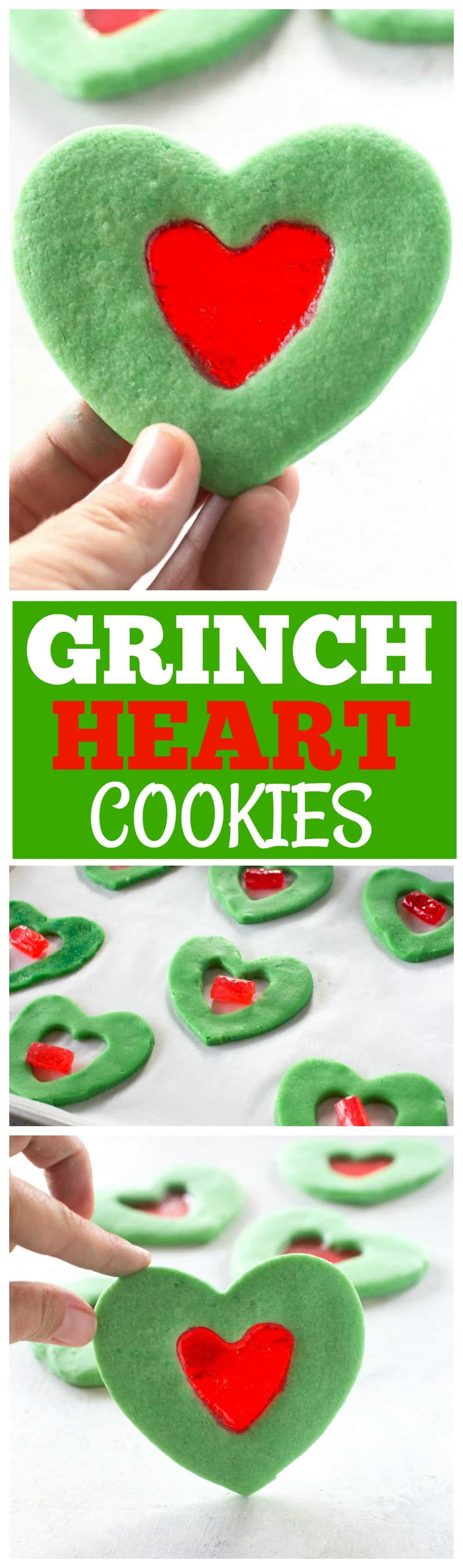 These Grinch Heart Cookies are magical little treats that you can make at Christmas with your kids. Sugar cookies dyed green with a stained glass red heart in the middle. #christmas #grinch #heart #cookies #dessert #sugar
