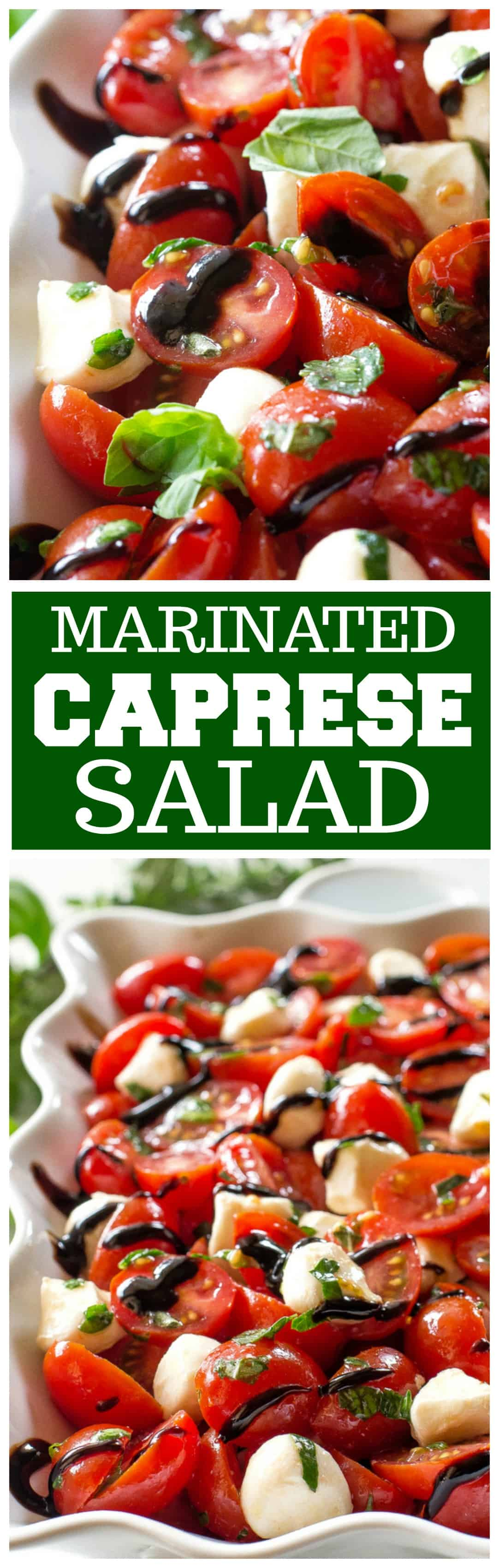 This Marinated Caprese Salad recipe is a great side dish. Marinated in balsamic dressing and herbs, it is bursting with flavor. #italian #caprese #salad #recipe