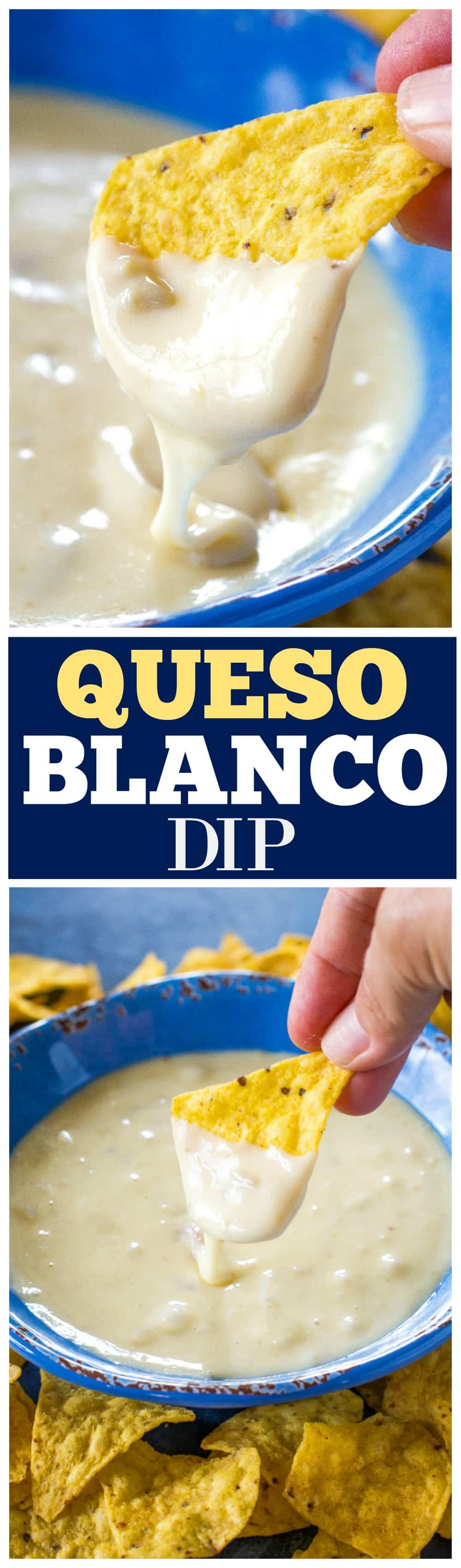 Queso Blanco Dip - only 4 ingredients to creamy, restaurant quality dip appetizer. Can be made in the crockpot too! #queso #blanco #dip #appetizer #mexican #recipe