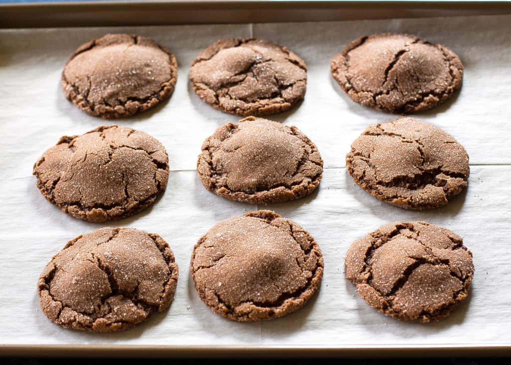 Molten Lava Cookies on a baking sheet
