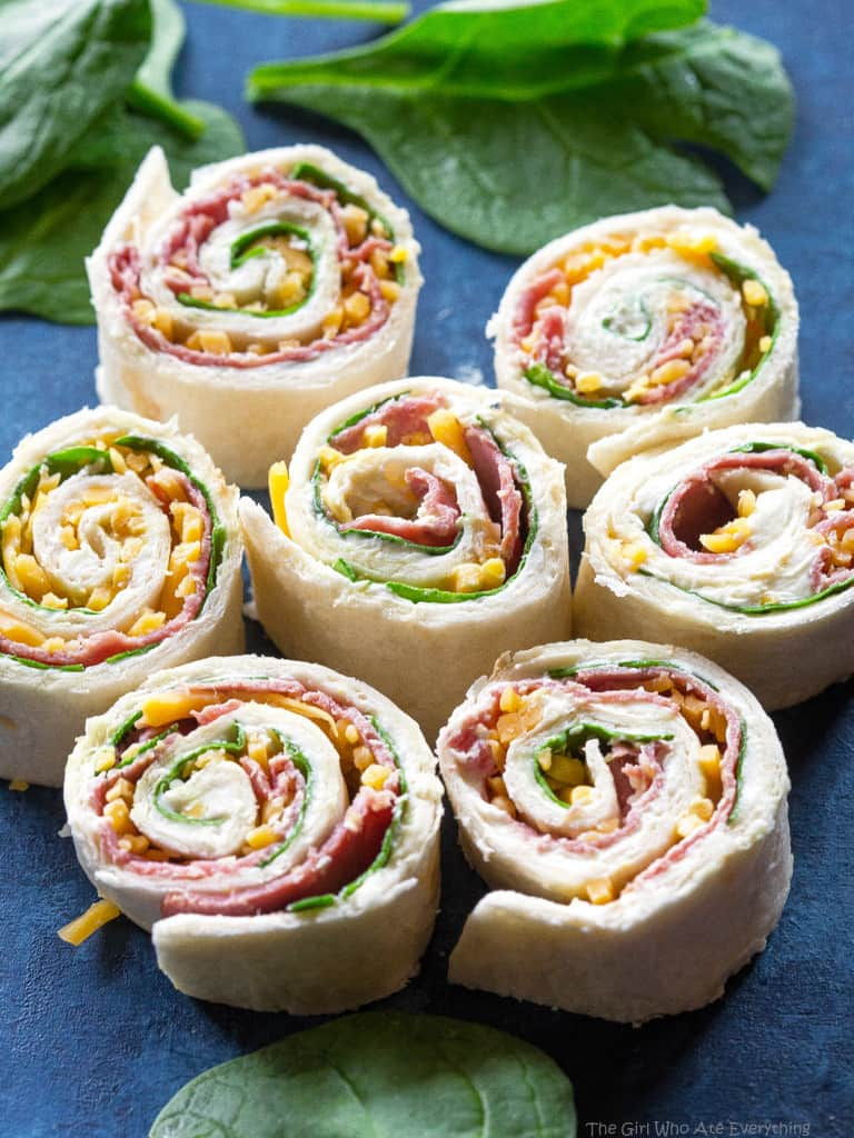 Roast Beef Horseradish Pinwheels on a plate