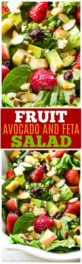 Fruit, Avocado, and Feta Salad with almonds, craisins, and a citrus vinaigrette. #healthy #salad #recipe