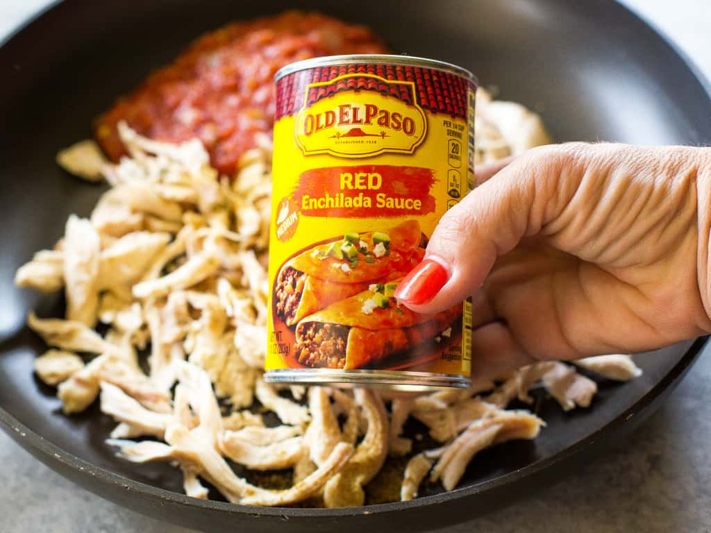 One Pan Chicken Enchilada Skillet enchilada sauce
