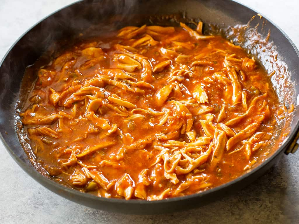 One Pan Chicken Enchilada Skillet enchilada sauce, chicken, and salsa