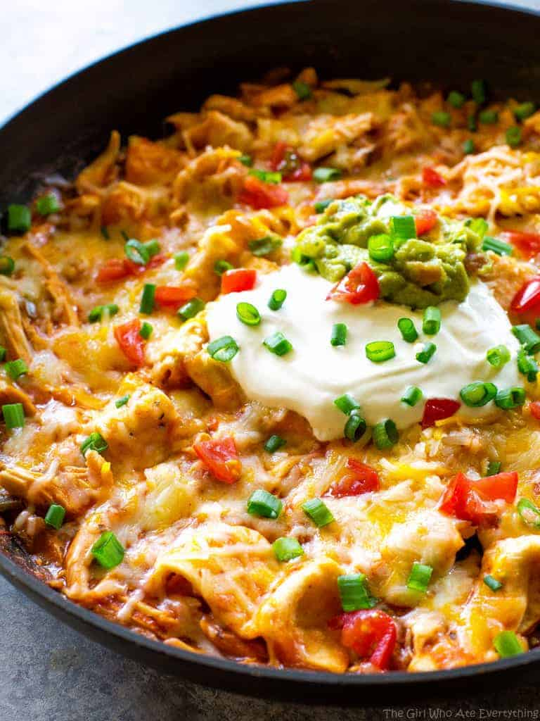 One Pan Chicken Enchilada Skillet The Girl Who Ate Everything