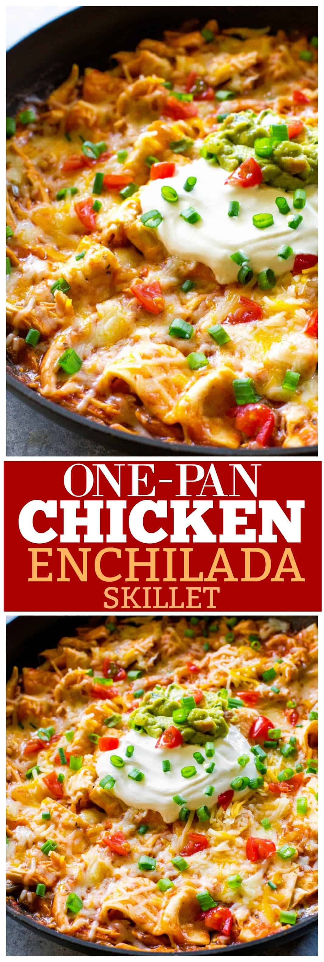 One Pan Chicken Enchilada Skillet enchilada sauce, chicken, tortillas, and salsa topped with sour cream and green onions