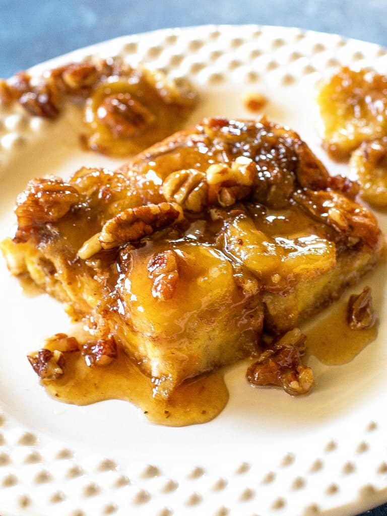 Baked Bananas Foster French Toast Slice on a plate