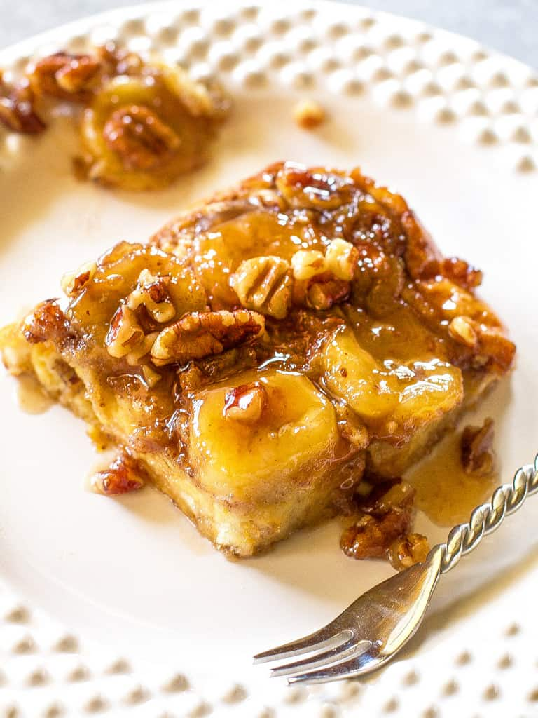 Baked Bananas Foster French Toast slice