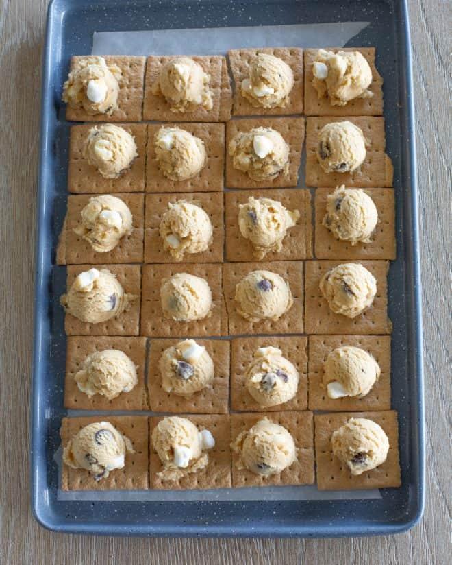 cookie dough on graham crackers