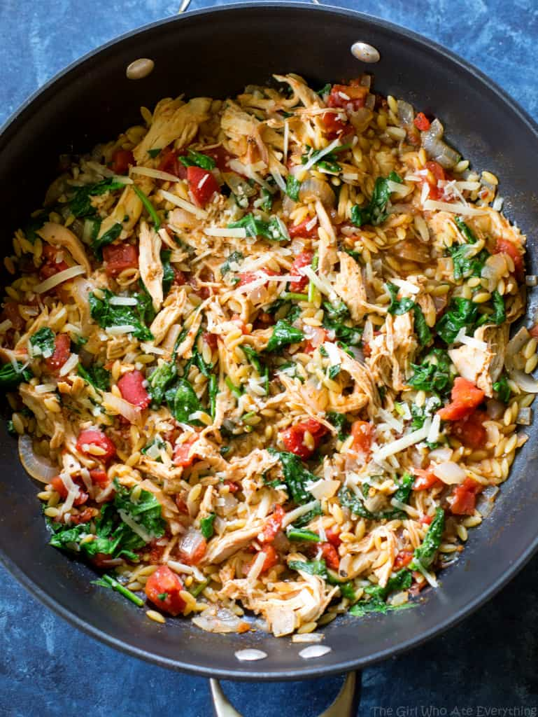 One-Pan Chicken and Spinach Orzo