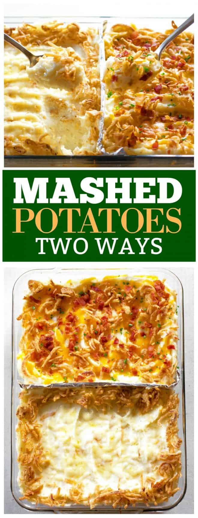 Everyone likes their mashed potatoes a different way, so why not have TWO kinds of mashed potatoes in one pan! I'm sharing with you French Onion Mashed Potatoes and Cheddar Bacon Mashed Potatoes to bring some pizzazz to your Thanksgiving table.