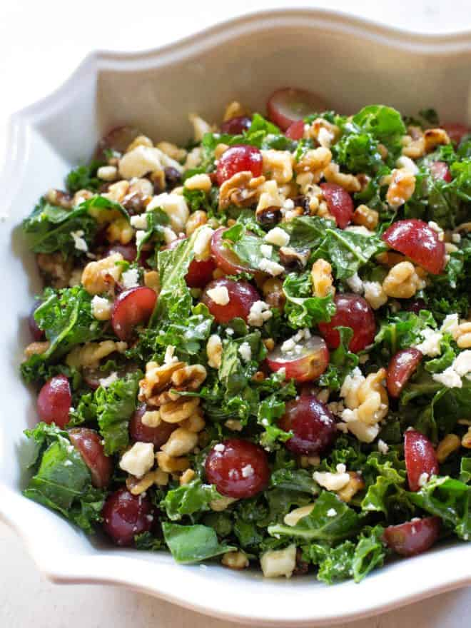 Grape and Feta Kale Salad