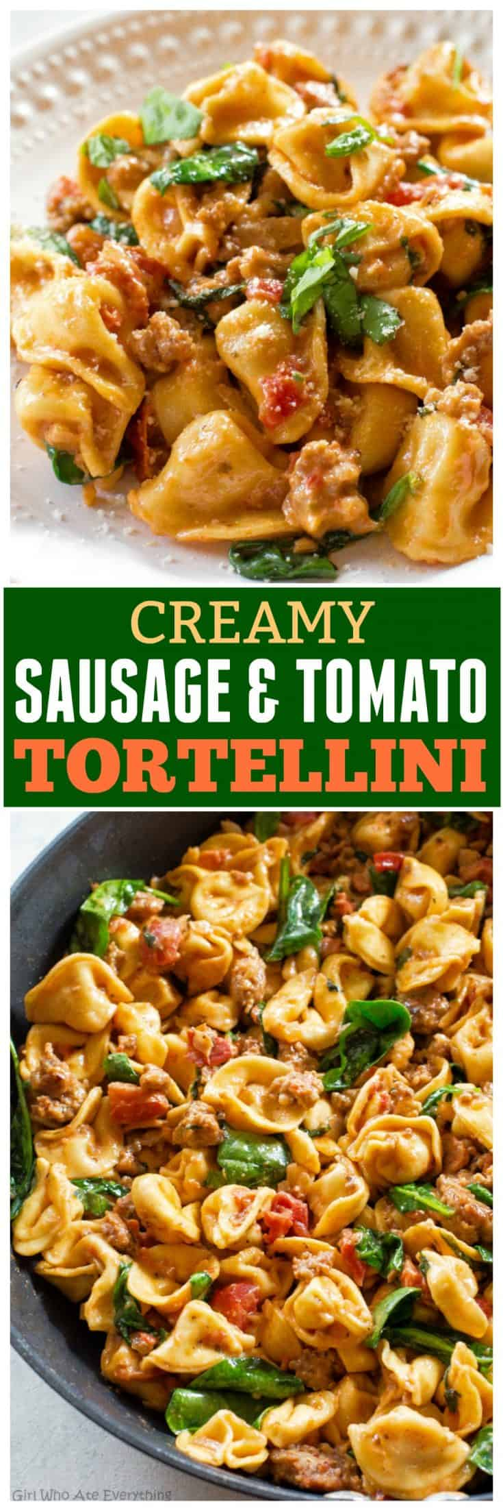 This Creamy Sausage and Tomato Tortellini is a delicious Italian dinner ready in under 15 minutes! #easy #dinner #recipe #onepot #onepan