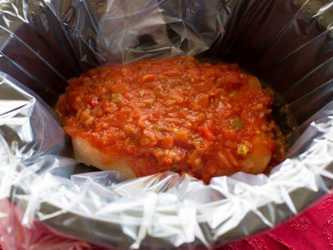 salsa poured over chicken