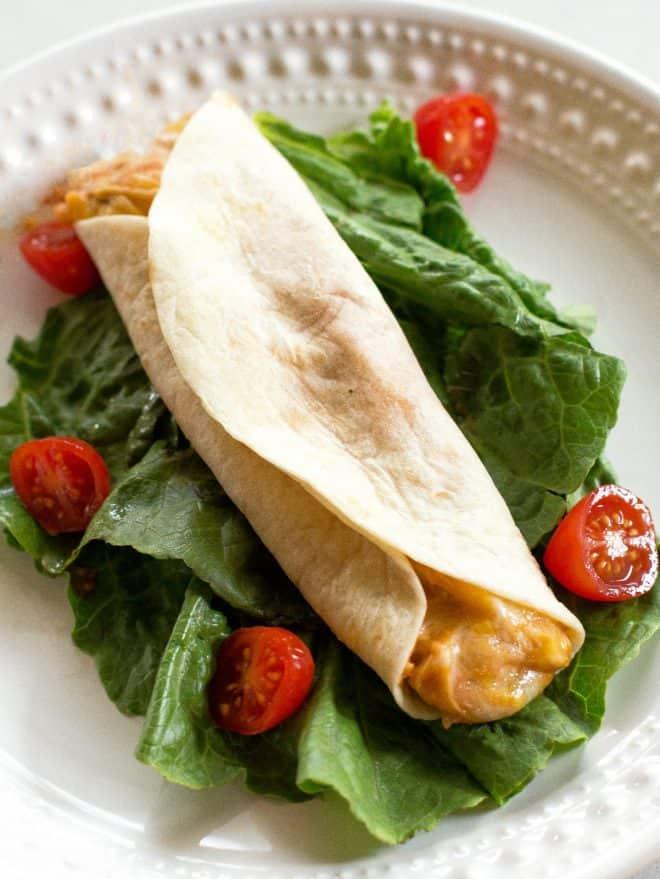 Cheesy Bean Salsa Chicken in a tortilla