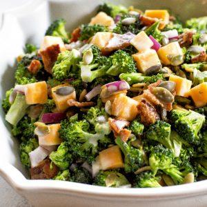 Keto Broccoli Salad in a bowl