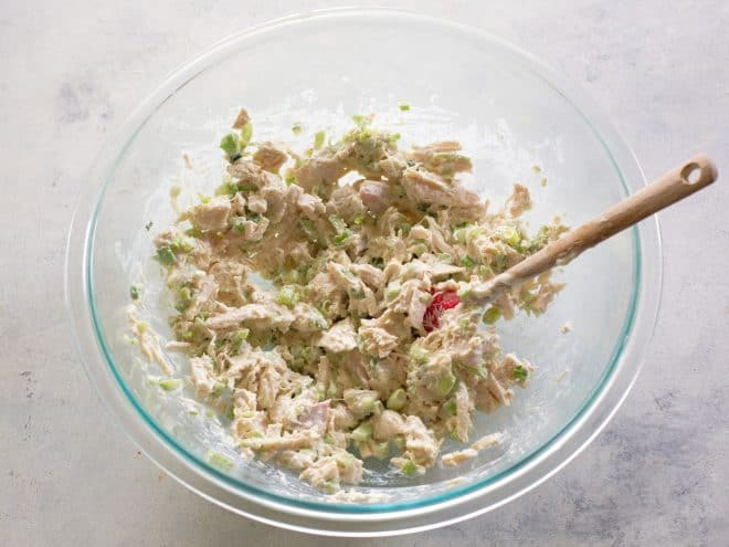 chicken salad in a clear bowl