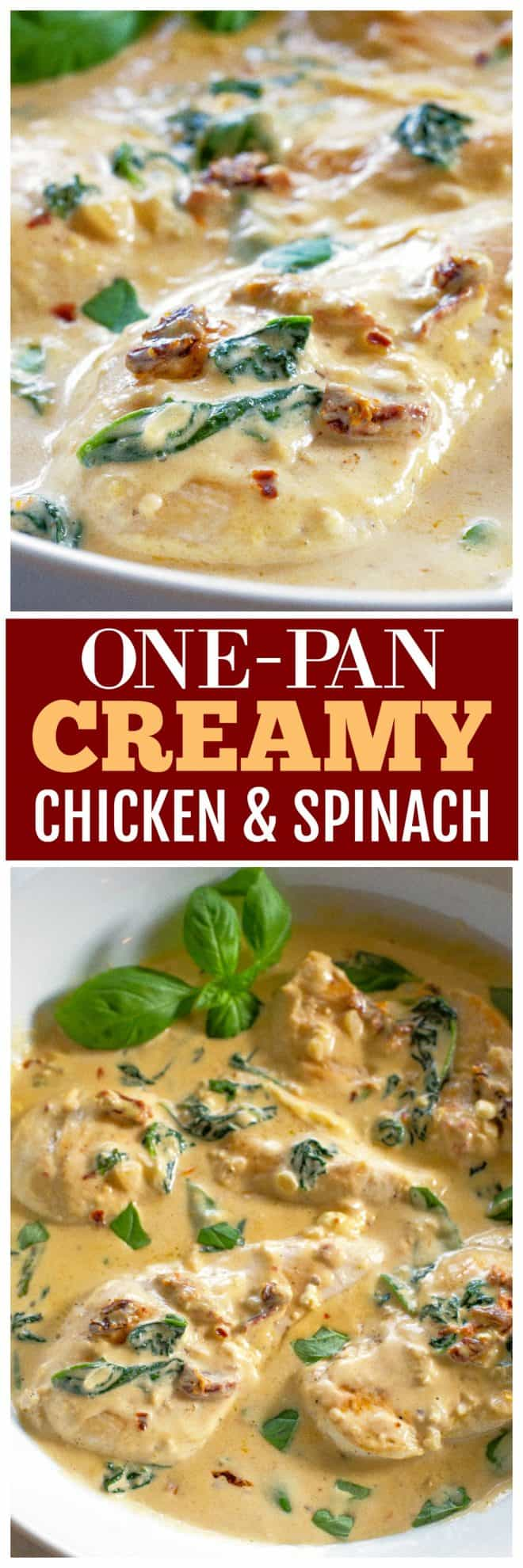 One-Pan Creamy Chicken and Spinach