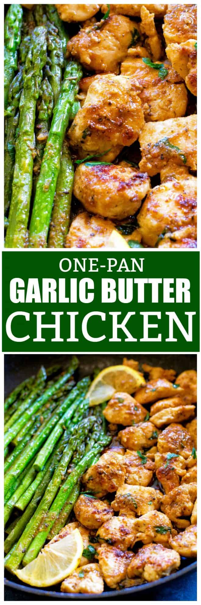 One-Pan Garlic Butter Chicken made in under 20 minutes and full of flavor! #onepan #garlic #butter #chicken #recipe #healthy #keto #lowcarb