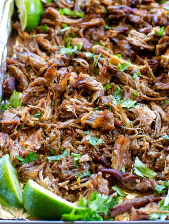 pork carnitas on a pan