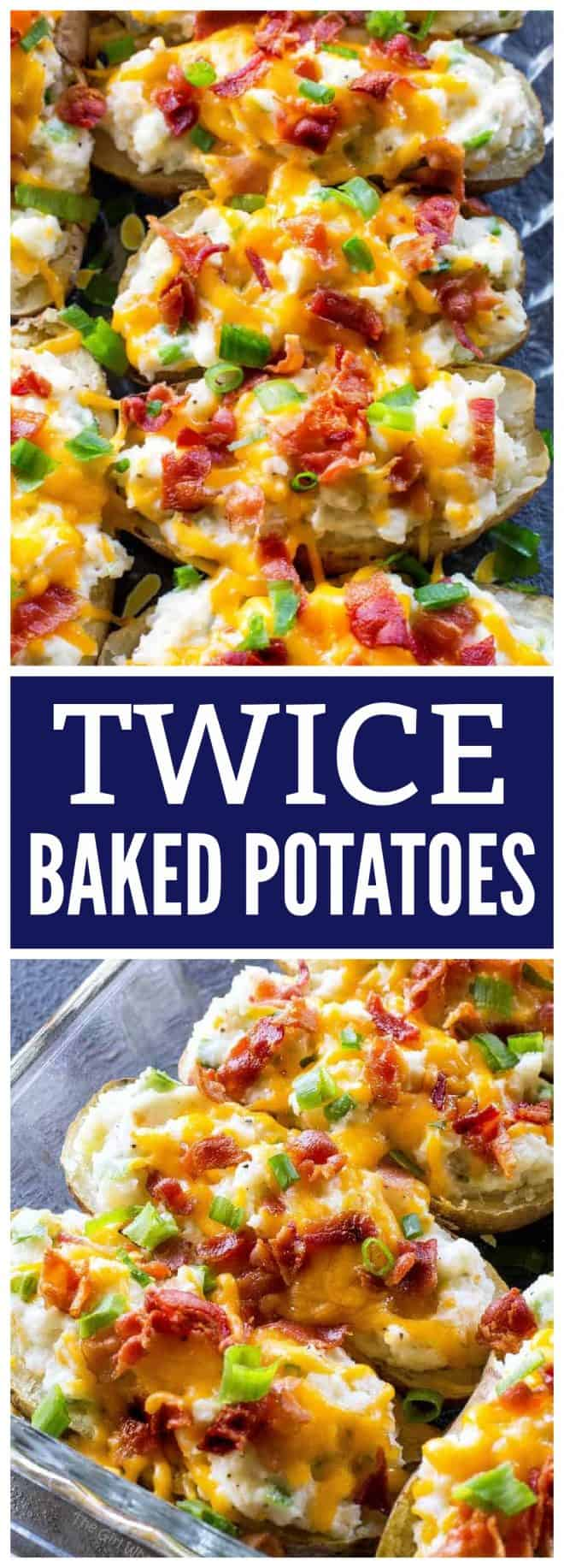 The Ultimate Twice Baked Potatoes - you can go wrong with this side dish. Twice Baked Potatoes are creamy with sour cream and topped with bacon, cheese, green onions. #twice #baked #potatoes #recipe #BBQ #potluck #sidedish