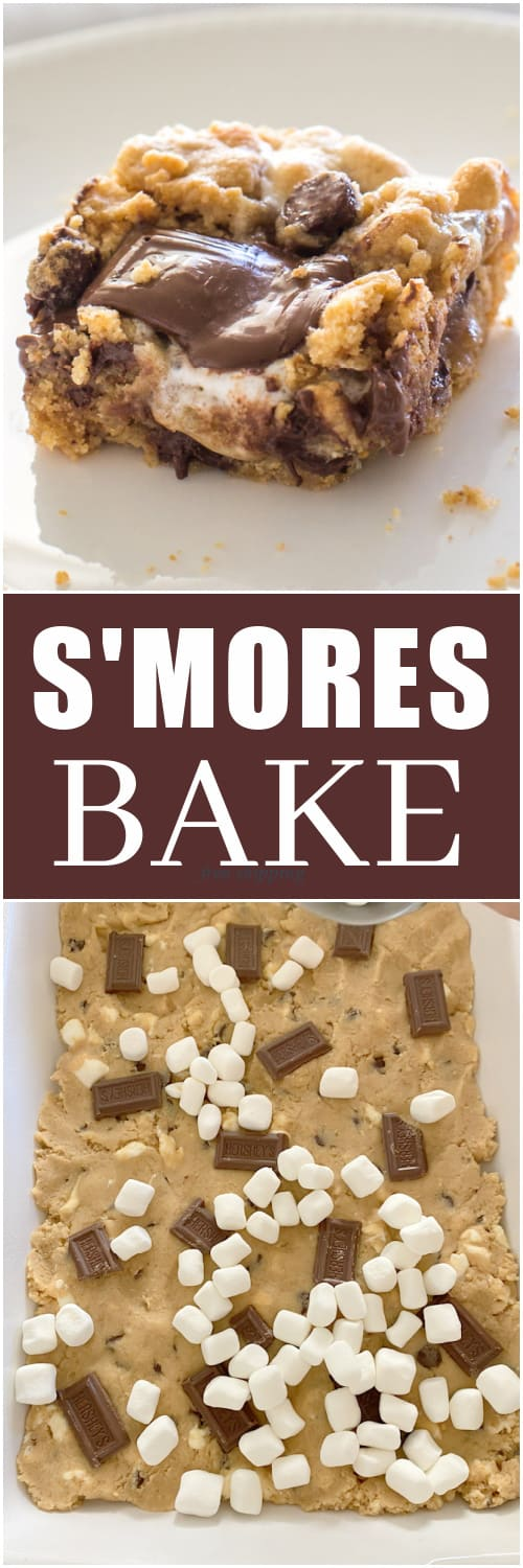 This S'mores Bake is a graham cracker dough dotted with chocolate chips, marshmallows, and your classic Hershey's on top. #smores #bake #dessert