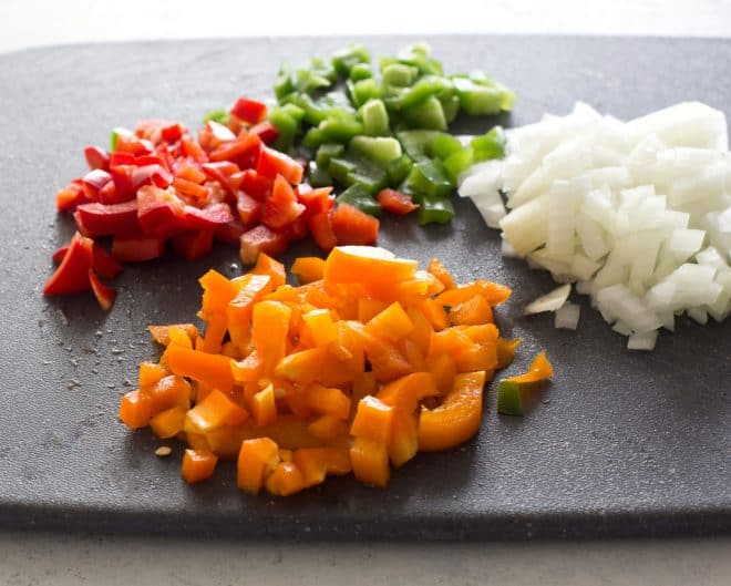 chopped bell peppers on a plate
