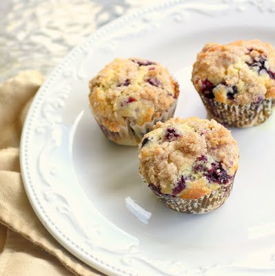 Blueberry Streusel Muffins on a white plate.