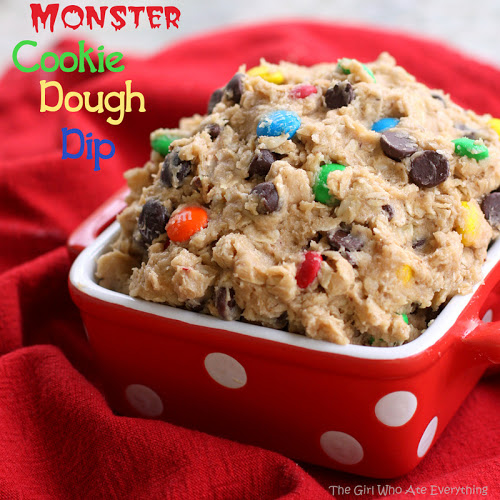 This Monster Cookie Dough Dip is loaded with peanut butter, oats, M&Ms, and chocolate chips. This is one of my favorite recipes ever! #monster #cookie #dough #dip #halloween #recipe