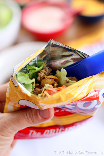 Walking Tacos - tacos made right in the bag. Great for parties! the-girl-who-ate-everything.com